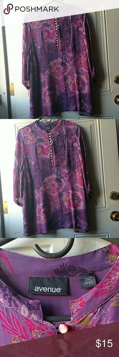 Purple Tunic My Mom's donation to my closet. Worn once. 3/4 length sleeve. Avenue Tops Tunics