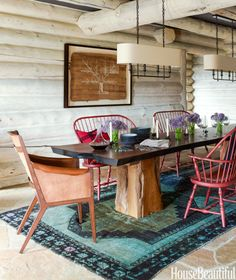INTERESTING BENCHES IN DINGING ROOM Exotic Meets Easygoing in This Colorado Cabin  - HouseBeautiful.com