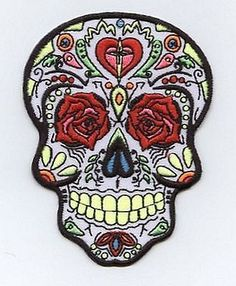 """Dia de Los Muertos Day of the Dead Sugar Skull Iron on Applique High quality, detailed embroidery applique. Can be sewn or ironed on. Great for hats, bags, clothing, and more! Size is approx. 3-1/2"""" x"""