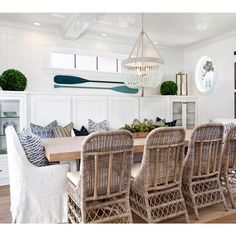 One of our favorite dining rooms from our #projectpeninsulapoint we just can't get enough of this modern cape cod vibe!!