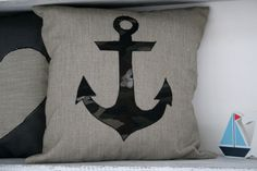 Handmade Applique 40x40 Nautical Anchor Vintage by TurkishBits