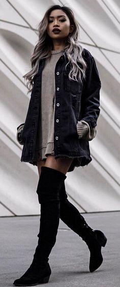 cool street style / denim jacket + sweater dress + black over knee boots
