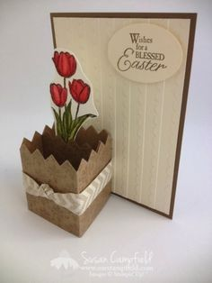 Blessed Easter 3D Fence Card with Rosette Die and Natural Chevron Ribbon  folds flat