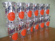Personalized acrylic tumbler w/ lid and straw, name, monogram, team colors… Basketball Baby Shower, Love And Basketball, Basketball Party, Sports Party, Clear Tumblers, Acrylic Tumblers, Vinyl Tumblers, Vinyl Crafts, Vinyl Projects