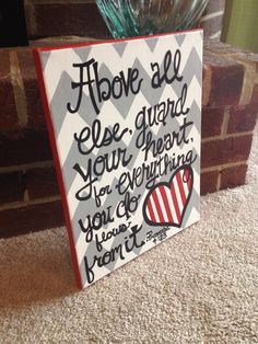Bible Verse Canvas- Proverbs 4:23. $27.00, via Etsy.