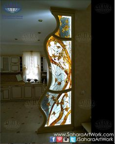 Beautiful stained glass partition with shaped edges and floral design