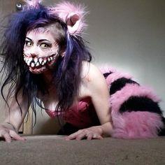 GF's Sister didn't win her work costume contest which I think is Bullshit Bridge Piercing, Medusa Piercing, Labret Piercing, Septum, Halloween 2015, Happy Halloween, Cheshire Cat Costume, Cat Makeup, Costume Contest