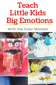 Teach little kids big emotions with help from the color monster. Hands on activities to teach children all about their feelings. Homeschool and preschool book activities and crafts. Feelings Preschool, Teaching Emotions, Emotions Activities, Preschool Books, Hands On Activities, Toddler Activities, Preschool Activities, Teaching Kids, Activities For Kids