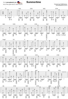 Summertime - fingerstyle guitar tablature 1