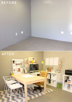 Design Studio | before and after - this gives me hope that our old ikea tables will look good with white shelving, etc.
