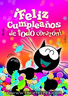 Tarjeta de cumpleaños con mucha dulzura-Gato morfeo hasta el cuello de dulces y caramelos © ZEA www.tarjetaszea.com