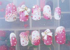 bow nails   CUTE POLKA DOT, 3D BOW NAILS by ~jadelushdesigns on deviantART