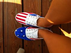 Diy fourth of july shoes. made these and they're so easy! 4th Of July Outfits, Fourth Of July, Diy For Teens, Outfits For Teens, 4th Of July Photography, 4th Of July Decorations, July Wedding, Diy Ribbon, July Crafts