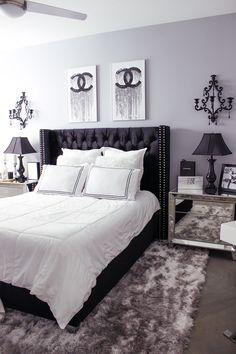 Black White Bedroom Decor Chic Glam Bedroom Decor Blondie in the City Hayley Larue Bedroom Decor Chanel Decor White Bedroom Design, White Bedroom Decor, Glam Bedroom, Apartment Bedroom Decor, Room Ideas Bedroom, Modern Bedroom, Girls Bedroom, Bedroom Designs, Trendy Bedroom