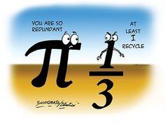 Recycles by MathHugger Math Poster: Irrational Pi vs. Math Puns, Math Memes, Science Jokes, Maths, Classroom Humor, Teacher Humor, Math Teacher, Math Cartoons, Math Comics