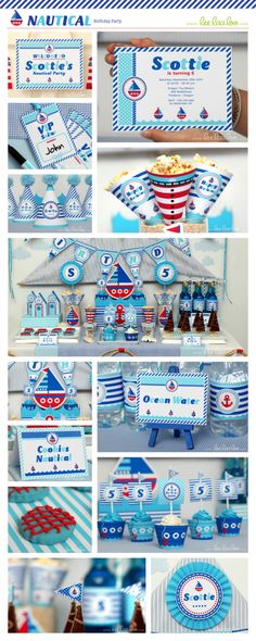 Nautical Birthday Party Package Collection Set Mega Personalized Printable // Nautical - B23Pz2. $35.00, via Etsy.