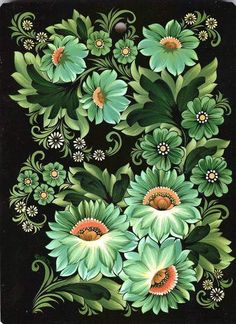 both types of green flowers Russian Folk Art, Ukrainian Art, Folk Art Flowers, Flower Art, Tole Painting, Fabric Painting, Art Populaire Russe, Floral Vintage, Floral Drawing