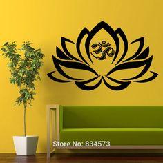 Flor de loto del símbolo de Om buda arte de la pared Sticker Decal DIY decoración decoración de la pared Mural removible habitación Sticker Decal 56 X 90 cm()