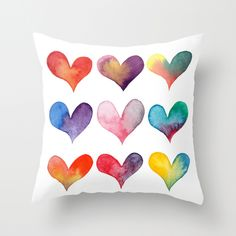 "Color of Hearts Throw Pillow (16""x16"") - $20.00 