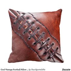 Cool Vintage Football Pillow with Close Up Laces.  The perfect gift idea. http://www.zazzle.com/cool_vintage_football_pillow_with_close_up_laces-189916088961265128?rf=238012603407381242 To view more vintage gift ideas. CLICK HERE: http://www.Zazzle.com/YourSportsGifts   Visit our Website http://YourSportsGifts.com