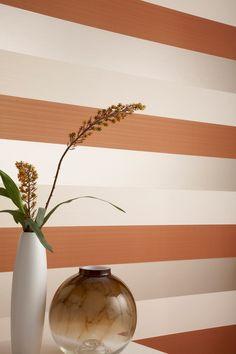 Figaro Orange Striped Wallpaper - Designer Stripes Wall Coverings by Graham Brown