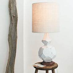 I love this- the burlap shade gives a gorgeous textrue and glow when the lamp is on.