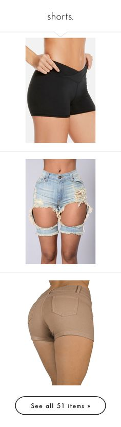 """""""shorts."""" by trillestqueen ❤ liked on Polyvore featuring activewear, activewear shorts, bottoms, shorts, denim, frayed jean shorts, pink jean shorts, cut off jean shorts, denim short shorts and cut-off shorts"""