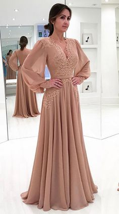 Dusty Pink Chiffon Prom Dress Lace Applique Prom Dress A Line Prom Dress Vestido De Festa Long Sleeve Prom Dress Vintage Prom Prom Dresses Long With Sleeves, A Line Prom Dresses, Trendy Dresses, Elegant Dresses, Vintage Dresses, Nice Dresses, Casual Dresses, Fashion Dresses, Dress Prom