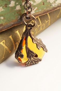 Amber Oak Frond - Arts and Crafts Revival Hand Rendered Necklace