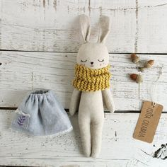 Bunny doll with blue dress. Organic toy ideal as a gift for babies. Rabbit doll with yellow scarf. Blue Bunny, Fabric Toys, Sewing Dolls, Soft Dolls, Handmade Toys, Baby Toys, Baby Gifts, Doll Clothes, Creations