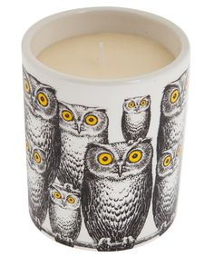 This Barnaba Fornasetti lidded candle features a hand illustrated owl design. Perfect as a gift for perfumed candle lovers. #libertyhome