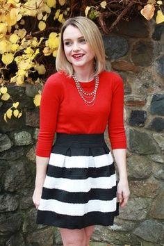 Black Apricot Stripe Flare Zip Skirt - Sheinside.com
