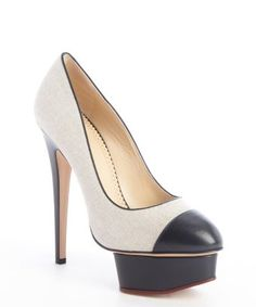 Charlotte Olympia : beige canvas and black leather platform pumps