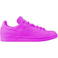Adidas by Raf Simons Stan Smith leather sneakers ($376) ❤ liked on Polyvore featuring shoes, sneakers, adidas, zapatillas, fuchsia, leather shoes, leather trainers, rubber sole shoes, adidas sneakers and adidas shoes