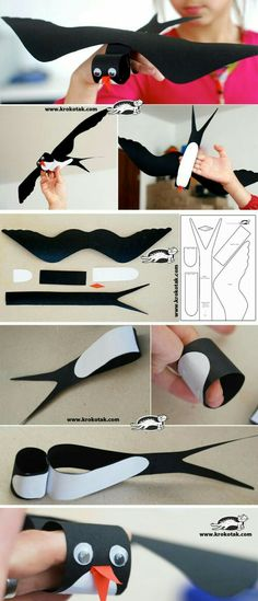 "Black Cardboard SWALLOW This is the bird that appears in the book ""Song of the Swallow."" This is a good idea for children to see what a swallow looks like. Kids Crafts, Projects For Kids, Diy For Kids, Diy And Crafts, Arts And Crafts, Diy Paper, Paper Art, Paper Crafts, Spring Birds"
