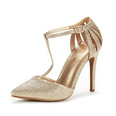 1e0c3a8d28b DREAM PAIRS Women s Oppointed-Mary Gold Glitter Fashion Dress High Heel  Pointed Toe Wedding Pumps Shoes Size 5 M US