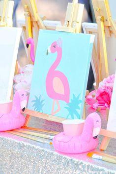 Flamingo-Pool-Art-Birthday-Party-by-Kara-Allen-Karas-Party-Ideas-KarasPartyIdeas… - Modern Pink Flamingo Party, Flamingo Birthday, Art Birthday, Summer Birthday, Flamingo Pool, Flamingo Cake, Birthday Party Drinks, 4th Birthday Parties, Birthday Party Decorations