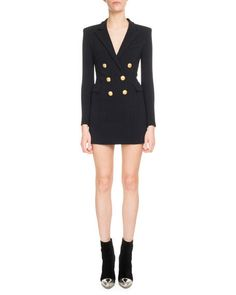 Balmain Designer V-Neck Long-Sleeve Jersey Blazer Dress Balmain Blazer, Balmain Dress, Blazer Dress, Blazer Jacket, Balmain Designer, Fashion Outfits, Womens Fashion, Latest Fashion Trends, Double Breasted