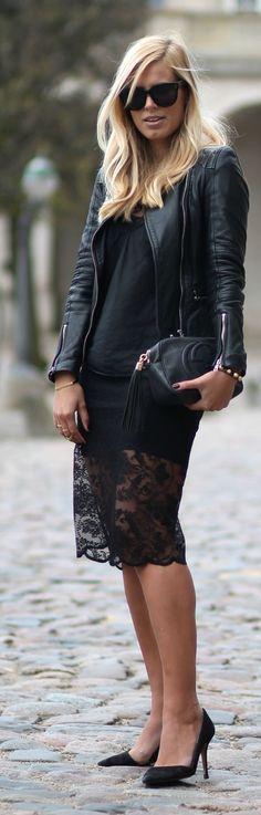 Black Lace Hem Skirt Casual Chic Streetstyle by Natulia women fashion clothing style apparel @RORESS closet ideas