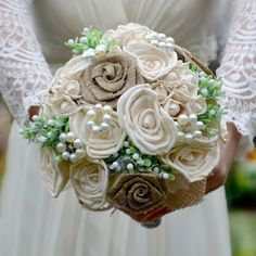 Wedding bouquet Rustic  and boutonniere by Marcellinewedding on Etsy