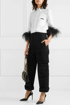 Prada Feather-trimmed Cotton-poplin Shirt In White Simple Outfits, Pretty Outfits, Chic Outfits, Fashion Outfits, Fashion Ideas, Feather Dress, Pant Shirt, Pants, How To Make Clothes