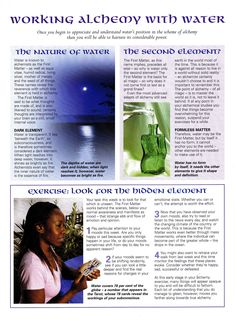 Elements Water:  Working Alchemy with #Water.