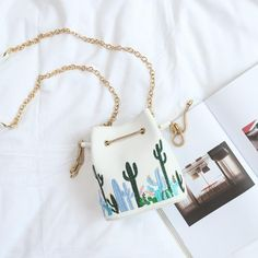 """CACTUSES PLANTS EMBROIDERY SHOULDER LEATHER PURSE BAG Use coupon """"ITPIN"""" to get 10% OFF entire order - itgirlclothing.com 