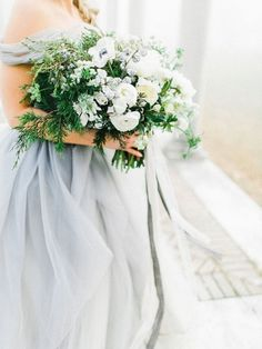 Green and White Bouquet with a Gray Wedding Dress | Rachel May Photography | https://heyweddinglady.com/ethereal-gray-winter-wedding-ideas/
