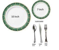 Bulk Dinner / Wedding Party Disposable Plastic Plates u0026 silverwarePlain white | Plastic plates and Wedding dinner  sc 1 st  Pinterest & Bulk Dinner / Wedding Party Disposable Plastic Plates u0026 silverware ...
