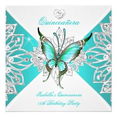 Quinceanera Pretty Teal Blue Butterfly Tiara 2 Card