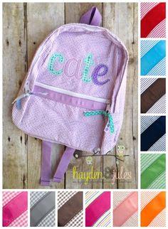 Applique Name Purple and Aqua Seersucker or Gingham Backpack b9f67ec528b50