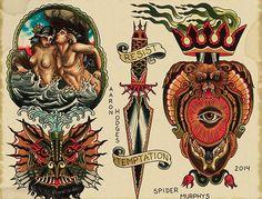 Spider Murphy's Tattoo Flash work 5