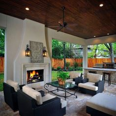 How to Design Your Perfect Outdoor kitchen: Outdoor Kitchen Design Guidelines & Ideas. How to Design Your Perfect Outdoor kitchen: Outdoor Kitchen Design Guidelines & Ideas.,Wohnen Modern-Outdoor-Kitchen-Combine-with-Living-Room Outdoor Living Rooms, Outside Living, Outdoor Spaces, Outdoor Decor, Outdoor Ideas, Rustic Outdoor, Outdoor Seating, Outdoor Furniture, Outdoor Patios