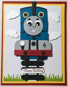 Thomas the Train punch art.  Birthday handmade card by Wanda Perez.